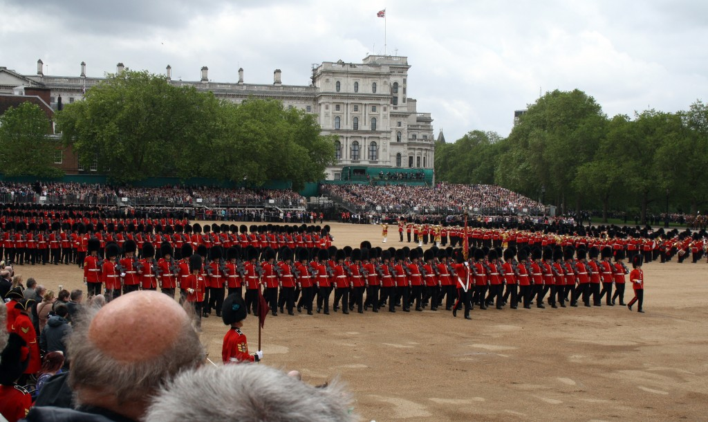 Coldstream Guards parade the Colour to Her Majesty.