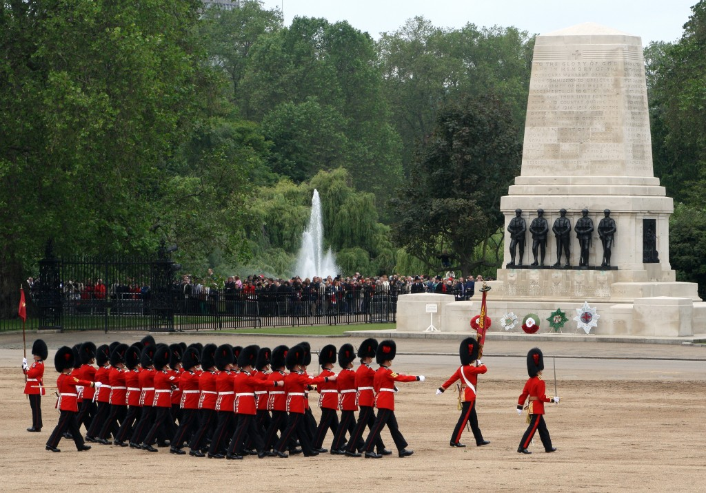 Coldstream Guards also depart, proudly escorting the Colour.