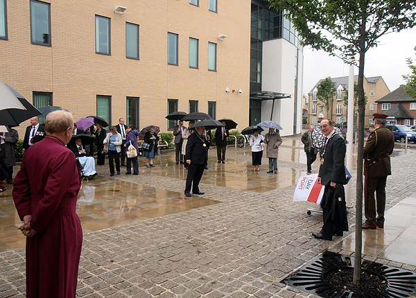 The Bishop of Huntingdon watches as the ceremony gets underway