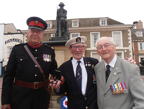 Deputy Lord Lieutenant, Colonel Derek Bristow, with Arctic veterans, Grove Dove and Jack Millard
