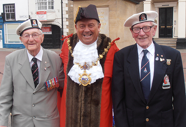 The Mayor of Huntingdon, Councillor Bill Hensley, with Jack Millard and Grove Dove