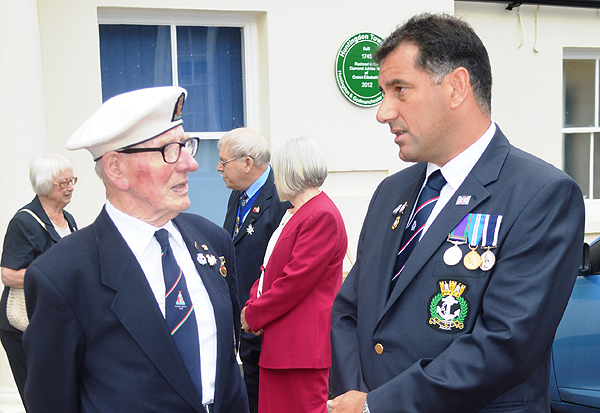 Shipmate Grove Dove has a chat with the Hon. Secretary, S/M Karl Webb prior to the Sea Sunday Service