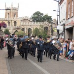 The band lead RAF Wyton personnel and Veterans through Huntingdon Town Centre