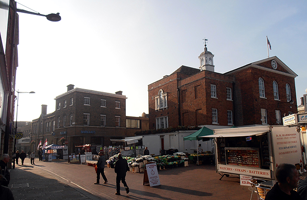 The view of Market Square and the Town Hall, our stall is  easy to spot