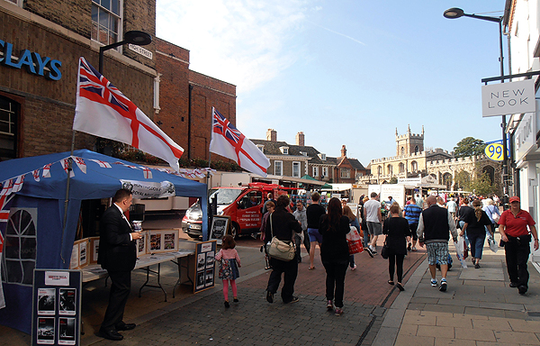 The view of the stall with St Mary's and All Saints Church in the background