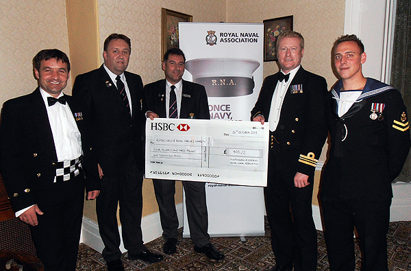 The cheque for the RN&RMC (l-r Kev Brettle, Pete Aston, Karl Webb, Andy Duthie, and James Langley)