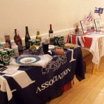 The tables are decorated with Raffle Prizes and a Trafalgar Display