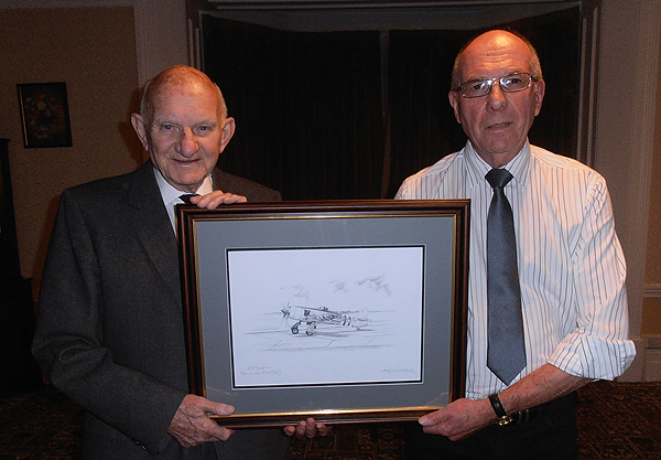 Branch President, Graham Holt, and Mr Barry Limbrick with 'First Solo'