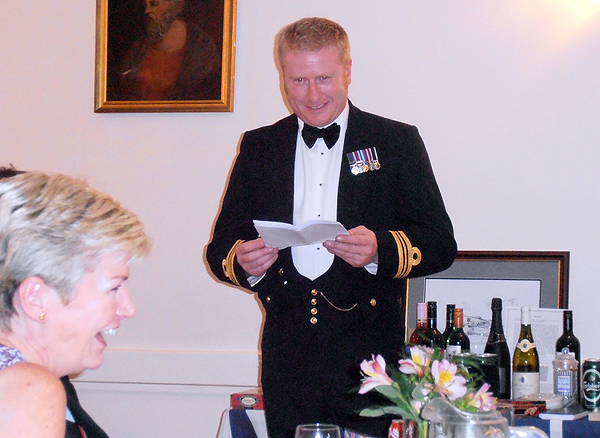 Our guest of honour, Lt Cdr Andy Duthie delivers an after-dinner speech