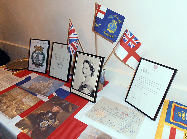 The Trafalgar Display and photograph of our Patron, and the letters from Buckingham Palace