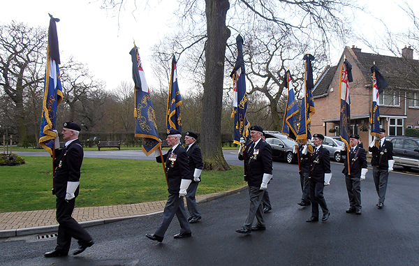 Standard Bearers lead the funeral procession