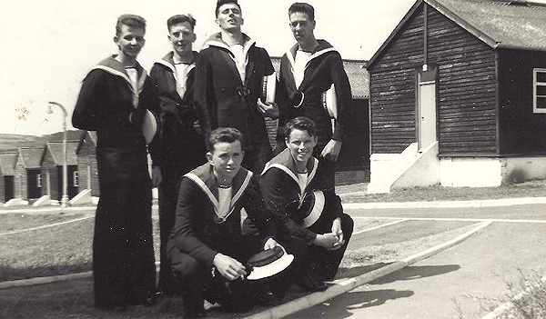 Tom Tubb (far left), Albion Mess, HMS Raleigh 1961 (Photograph courtesy Victoria Woodward)