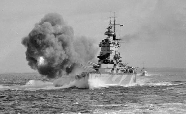 HMS Nelson during gunnery trials