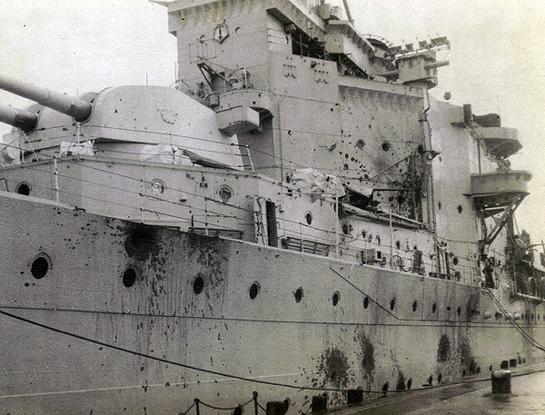 Damage to HMS London during the Yangtze Incident (photograph courtesy of Judy Burdett)