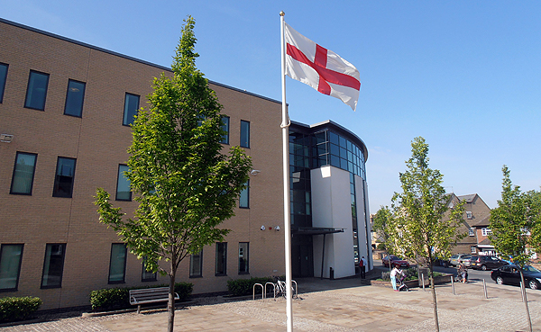 The Flag of St George flying outside Pathfinder House