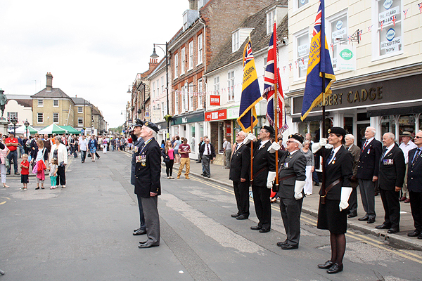 The Mayor of St Ives joins representatives of the Armed Forces for the raising of the AFD flag