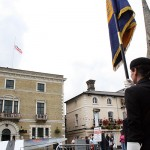 The Armed Forces Day flag above the Town Hall