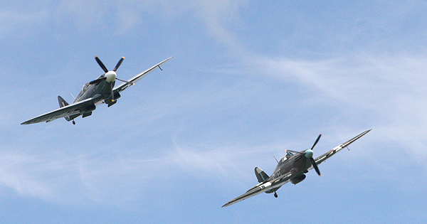 Spitfire and Hurricane flypast