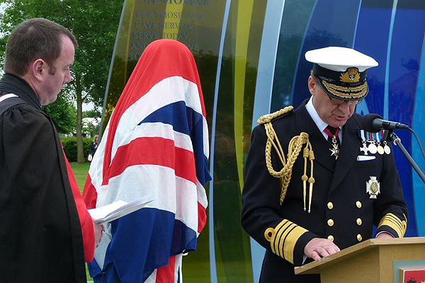 The First Sea Lord gives the Dedication to the Naval Service Memorial (Photo: Lt Cdr Nigel Huxtable, RNA)