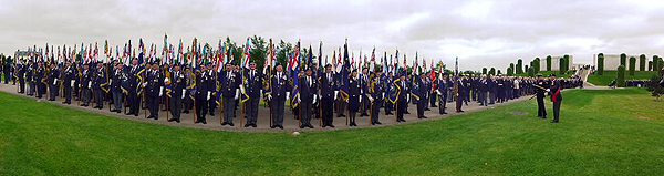 Standard Bearers pose in front of the Armed Forces Memorial (Photo: Lt Cdr Nigel Huxtable, RNA)
