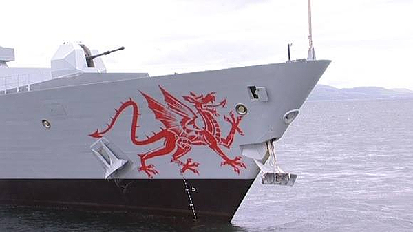 The Red Dragon painted on HMS Dragon's bow (CROWN COPYRIGHT)