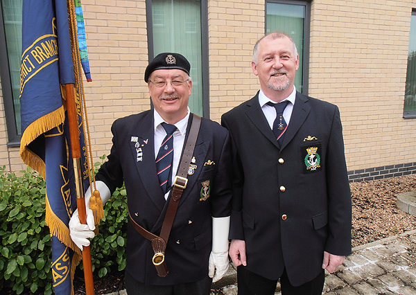 S/Ms Bill Small and Graham Murray at the flag-raising ceremony