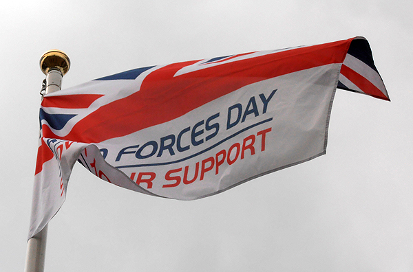 The Armed Forces Day Flag flying outside of Huntingdonshire's Council Offices