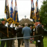 Standard Bearers form up as guests depart St. Mary's Church
