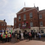 Guests gather outside the Town Hall
