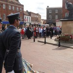 Huntingdon Town Mayor, Cllr Bill Hensley placed the first flower of Remembrance