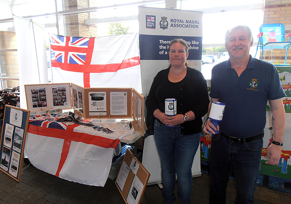 Shipmates Becky and Graham Murray with the Branch display