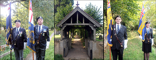 RBL and RNA Standard Bearers take post either side of the Lych Gate