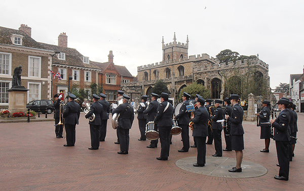 RAF Wyton Area Voluntary Band take position in front of the War Memorial