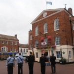 RAF Ensign hoisted above the Town Hall