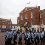 Air Cadets marching into position in front of the Town Hall