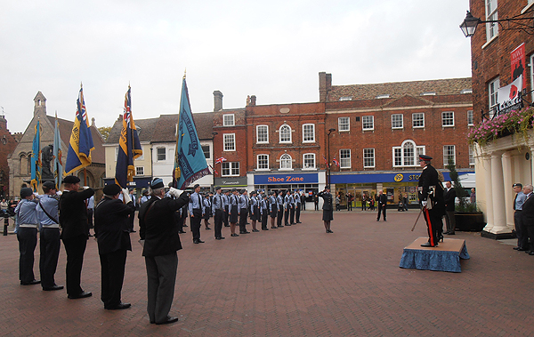 The Salute is received by Colonel Derek Bristow and Councillor Tanya Forster