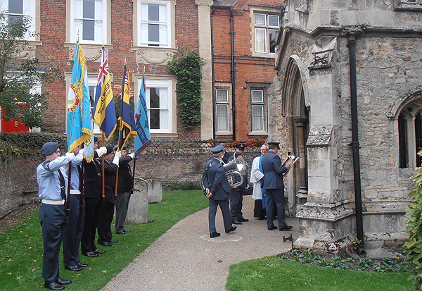 Standard Bearers lined the approach to All Saints' Church