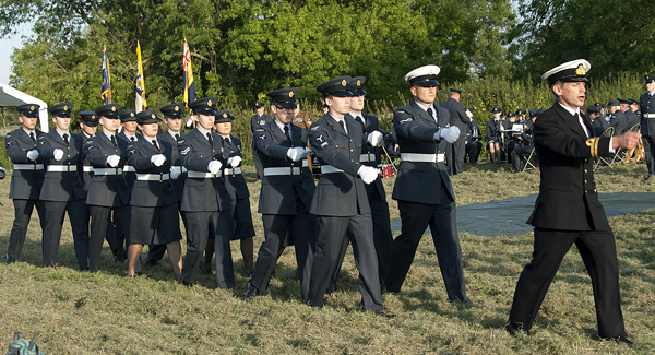 Personnel from RAF Wyton march on for the ceremony (Photo RAFA)