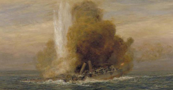The Sinking of HMS Pathfinder, 5 September 1914 (courtesy of Imperial War Museum [IWM/ART 5721])
