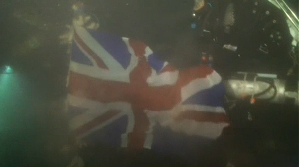 The Union Flag onboard HMS Pathfinder during the remembrance ceremony
