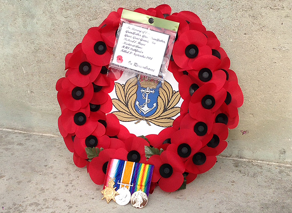 Richard's medals and the wreath at the Commonwealth War Grave