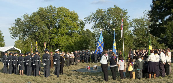 Representatives from Huntingdon Council, Armed Forces and Community Associations gather for the Sunset Ceremony
