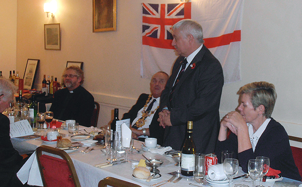 The Chairman, shipmate Bill Small gives a few words before the Loyal Toast