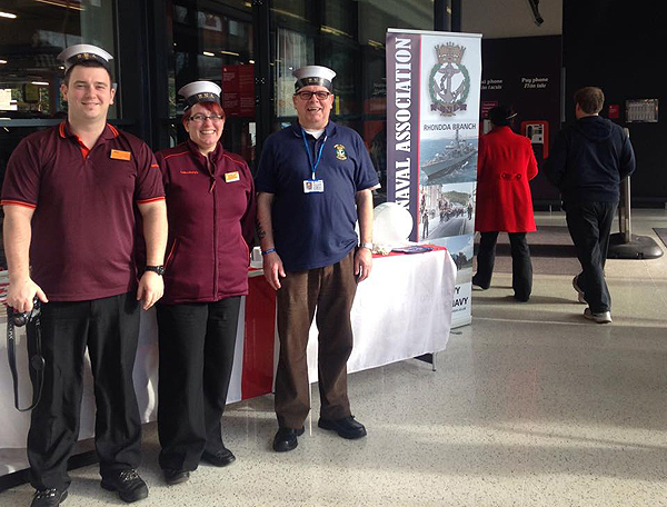 Rhondda Branch and Sainsbury's staff wearing the famous RNA caps