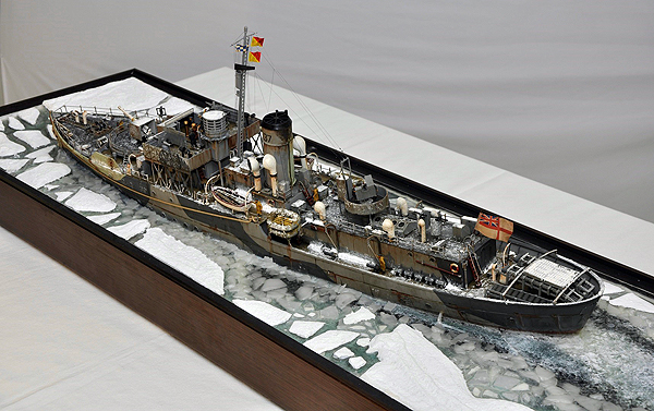 the Arctic Convoy diorama of the Flower Class Corvette HMS Bluebell
