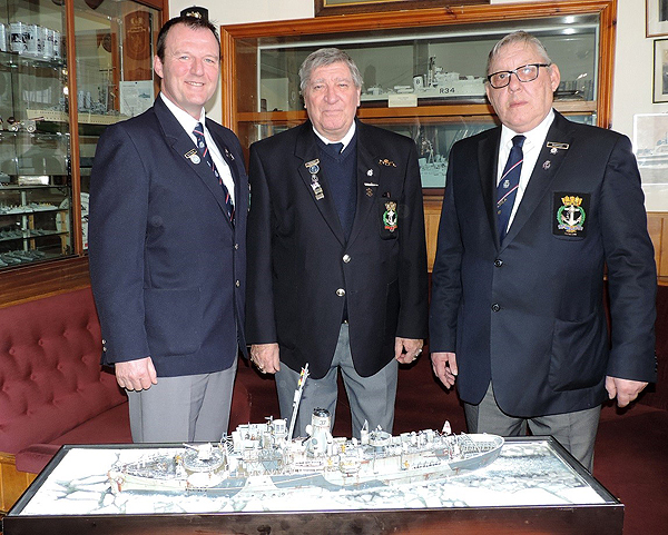 Shipmates Gary Daisley, Brian Goodwin and Dave Wright with the Arctic Convoy diorama