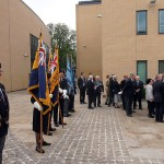 VIPs, include the Mayor of Huntingdon, join Huntingdon residents for the flag raising