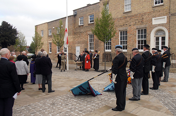 Branch Standards are dipped as the Flag of St George is raised