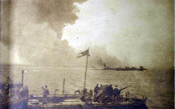 HMS Princess Irene is engulfed in smoke at Sheerness