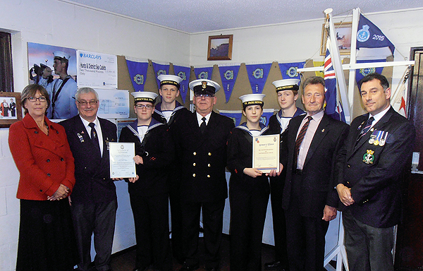 Members of the RNA and RBL present Agreement of Affiliation certificates to Huntingdon Sea Cadet Corps